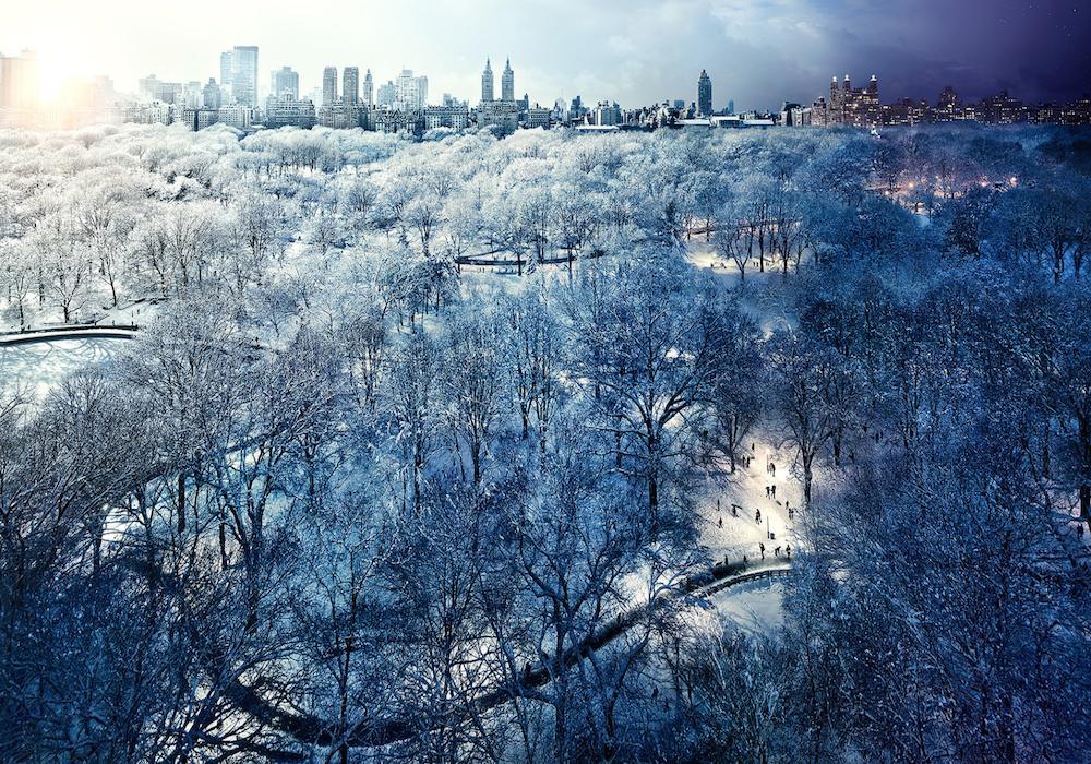Центральный парк Нью-Йорка зимой, США.